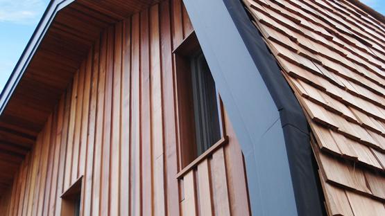 orga architect ecologisch bijgebouw met mooi houten lijnenspel. Black Bedroom Furniture Sets. Home Design Ideas