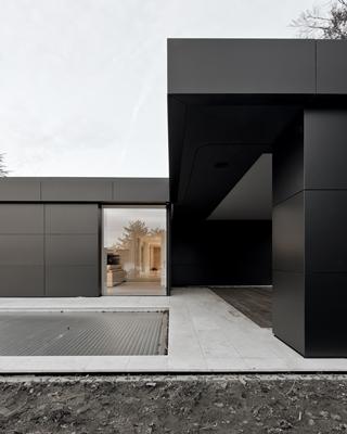 alucobond huis aan de rand van het bos wettswil. Black Bedroom Furniture Sets. Home Design Ideas