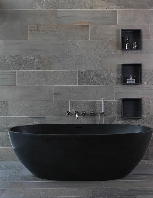 Half Vrijstaand Bad Zwart.Luca Sanitair Vrijstaand Solid Surface Bad Mat Zwart